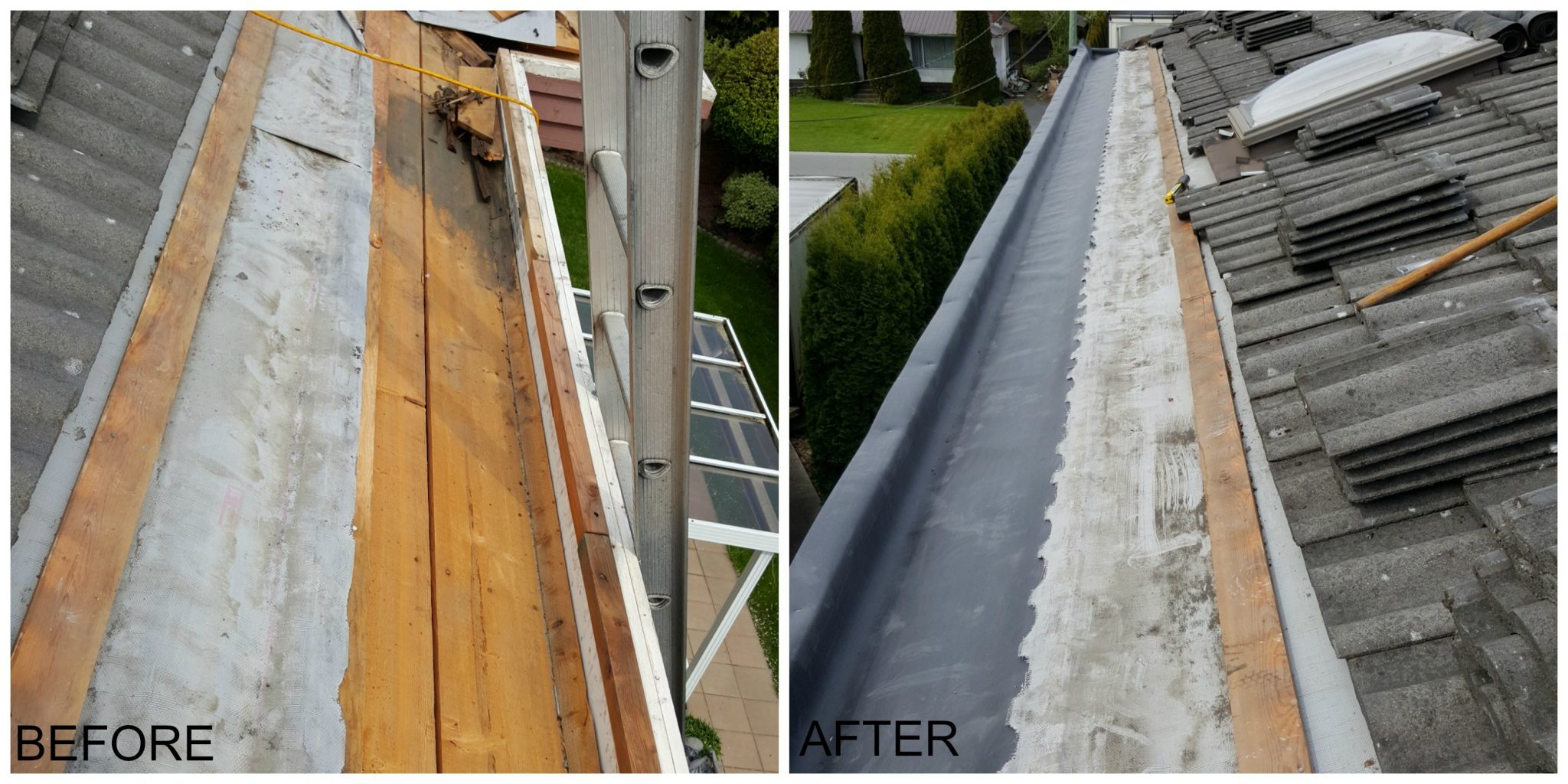 Canuck Roofing Before After Gutter Repair