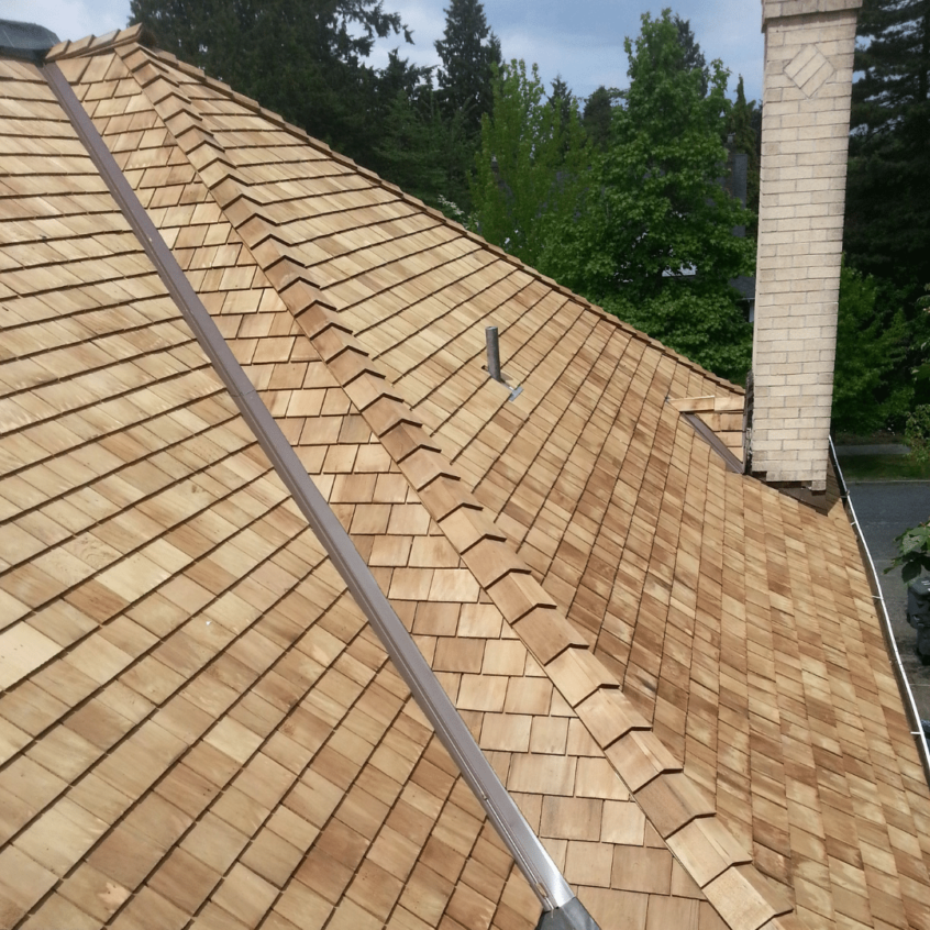 visual image of cedar shake roof installed by Canuck Roofing